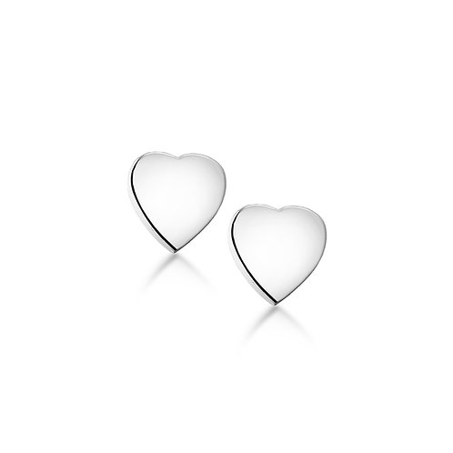 Sterling Silver Flat Heart Stud Earrings