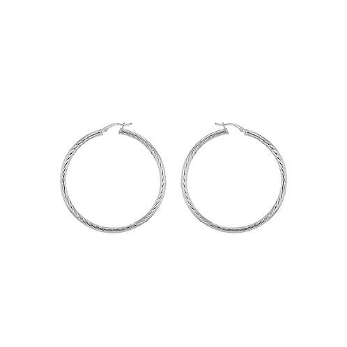 Sterling Silver 50mm Twist Diamond Cut Hoop Earrings