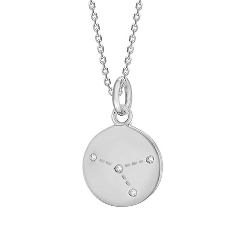 Cancer Sterling Silver Disc Pendant