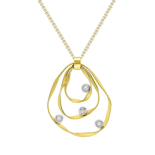 9ct Yellow Gold Ribbon Double Chain Necklace