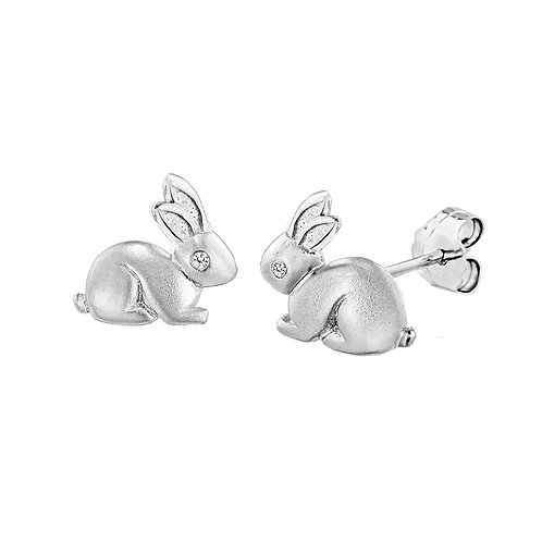 Sterling Silver Diamond Set Bunny Stud Earrings