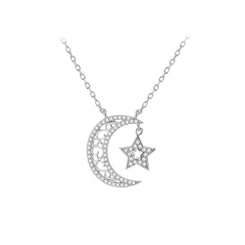 Sterling Silver Moon and Star CZ Necklace