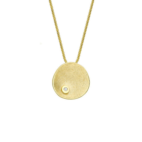 9ct Yellow Gold Design Disc Necklace