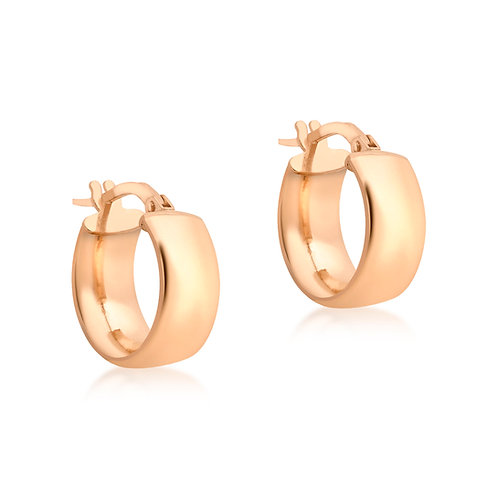9ct Rose Gold 14mm Thick Hoop Earrings