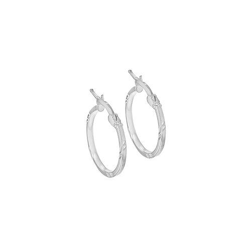 Silver 17.5mm Patterned Creole Hoop Earrings