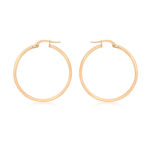 9ct Rose Gold 25mm Creole Earrings