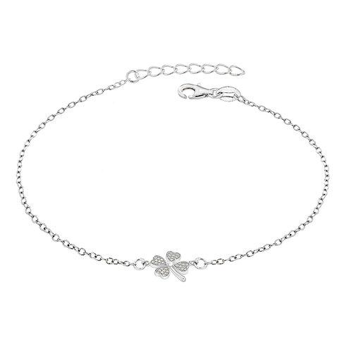 Sterling Silver CZ Four Leaf Clover Bracelet