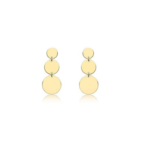 9ct Yellow Gold Disc Drop Earrings