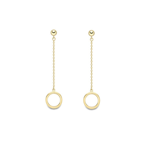 9ct Yellow Gold Stud and Drop Round Earrings