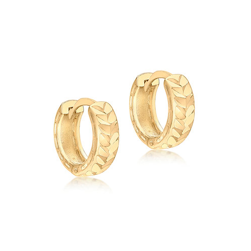 9ct Yellow Gold Faceted 12.5mm Hoop Earrings