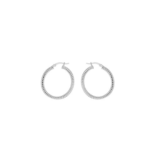 Sterling 35mm Forever Bead Hoop Earrings