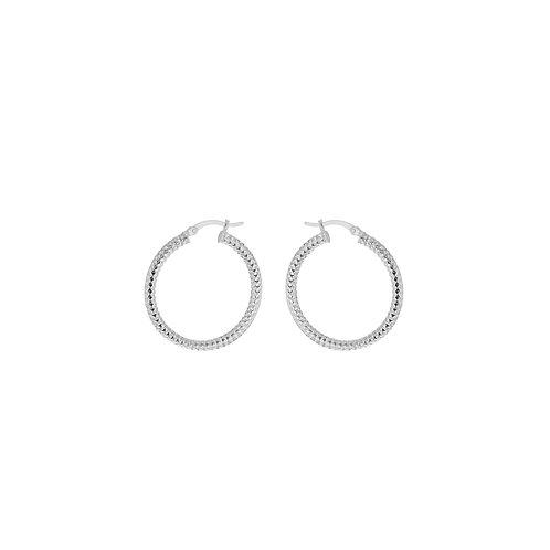 Sterling 35mm Forever Bead Hoop Earrings