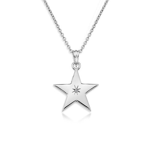 Sterling Silver Diamond Set Star Necklace