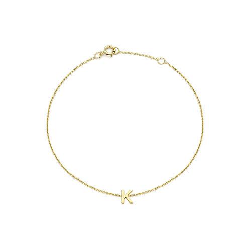 9ct Yellow Gold Initial K Ladies Bracelet