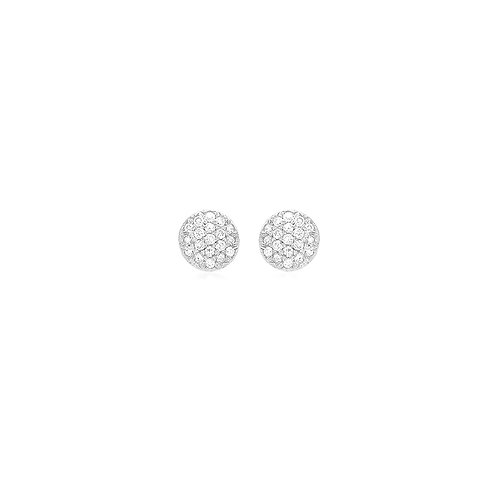 9ct White Gold Pave Set Diamond Stud Earrings