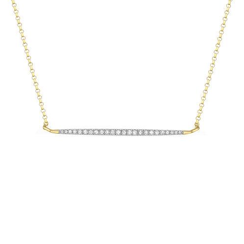 9ct Yellow Gold Diamond Set Bar Necklace