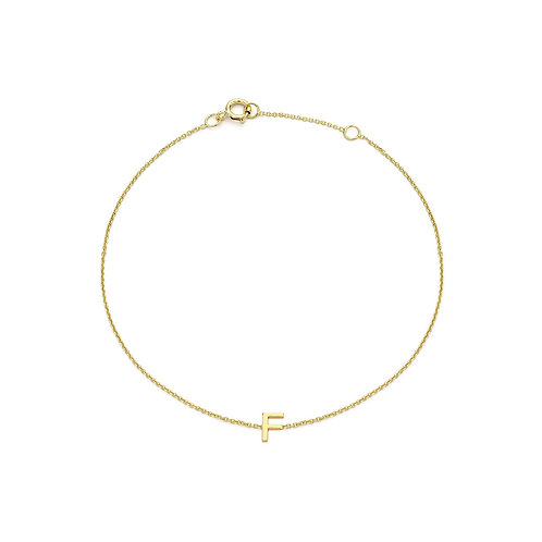 9ct Yellow Gold Initial F Ladies Bracelet