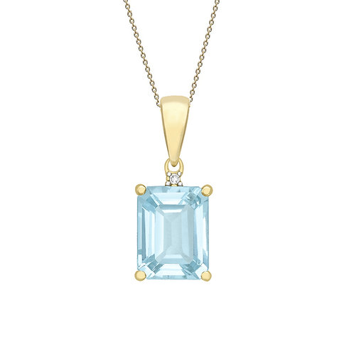 9ct Yellow Gold Octagonal Blue Topaz and Diamond Pendant