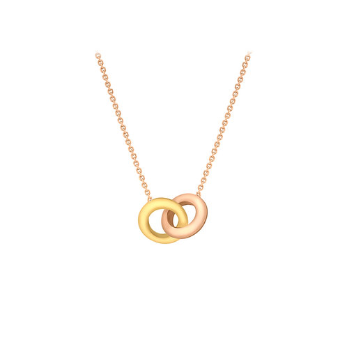 9ct Yellow and Rose Gold Double Ring Necklace