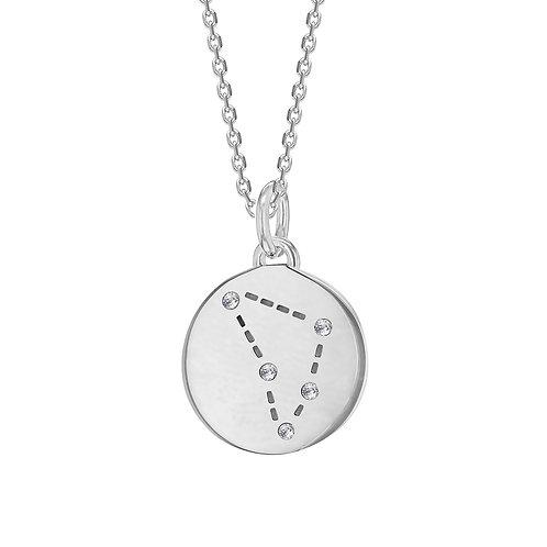 Capricorn Sterling Silver Disc Pendant
