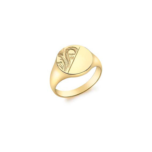 9ct Yellow Gold Oval Signet with Engraving