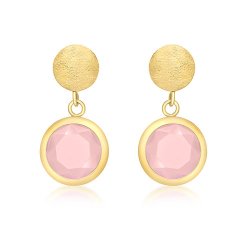 9ct Pink Crystal Drop Earrings