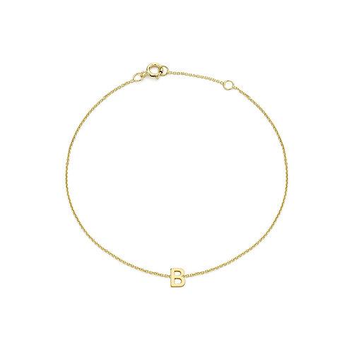 9ct Yellow Gold Initial B Ladies Bracelet