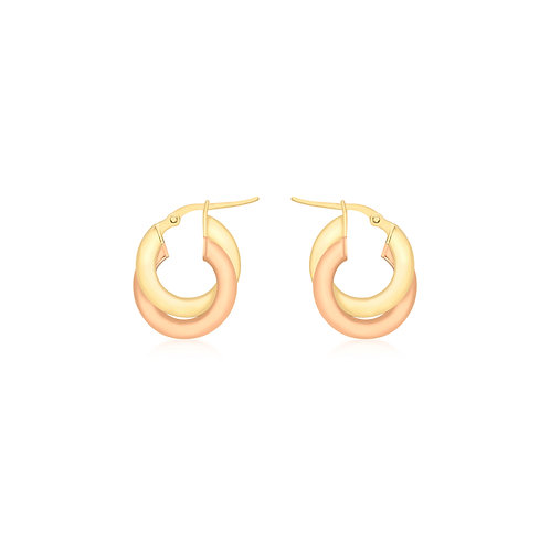 9ct Rose and Yellow Gold Linked Hoop Earrings