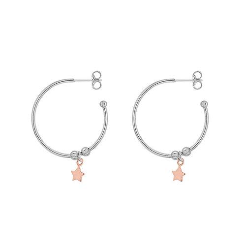 Sterling Silver Star Drop Hoop Earrings