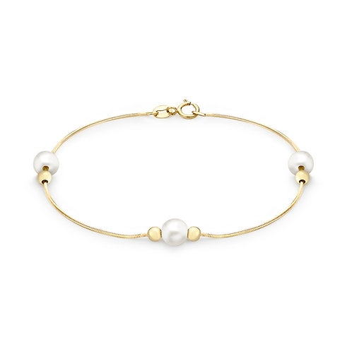 9ct Yellow Gold Pearl and Ball Ladies Bracelet