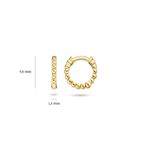 14ct Yellow Gold Solid 9mm Beaded Huggie Earrings