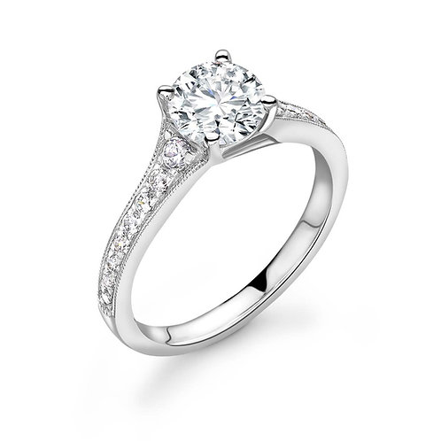 1.00ct Diamond Solitaire Ring with Pave Set Graduating Shoulders