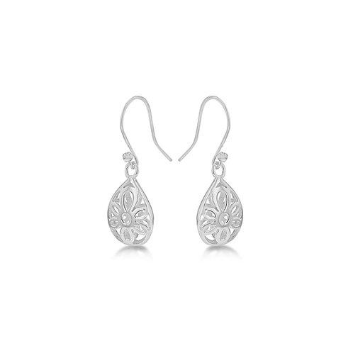 Sterling Silver Pear Shaped Drop Earrings