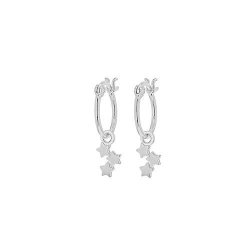Sterling Silver Stars Drop Creole Earrings
