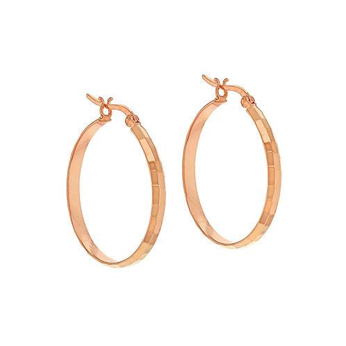 Rose Gold Vermeil Diamond Cut 30mm Hoop Earrings