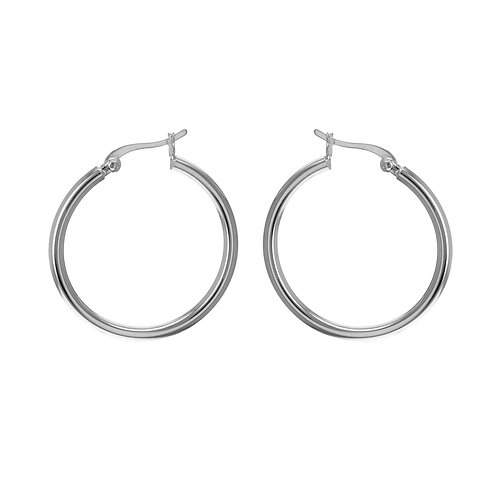 Sterling Silver 30mm Plain Hoop Earrings