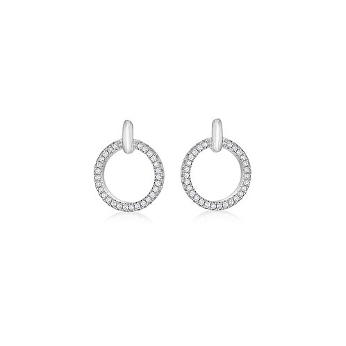 Sterling Silver CZ Circle Earrings