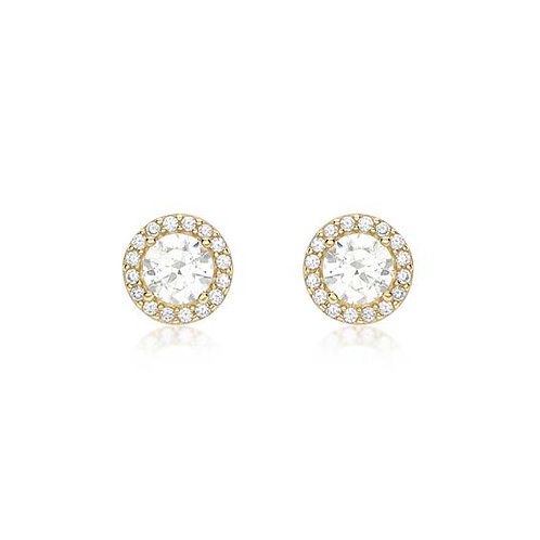 9ct Yellow Gold CZ Halo Cluster Stud Earrings