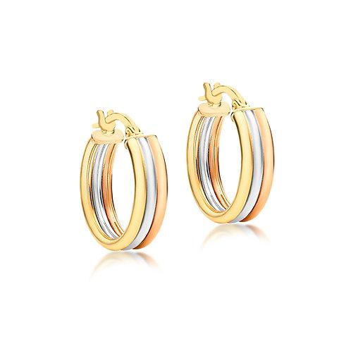 9ct Tri Colour Gold 17mm Hoop Earrings