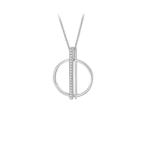 Sterling Silver Circle Bar CZ Pendant