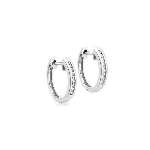 9ct White Gold Huggy Hoop Diamond Set Earrings