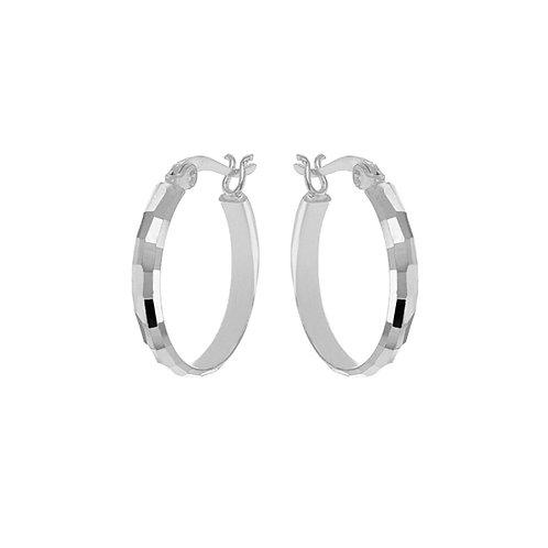 Silver 20mm Diamond Cut Hoops