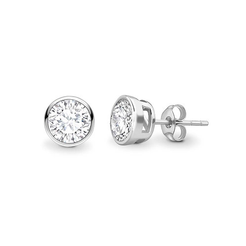 2.00ct Diamond Bezel Set Stud Earrings