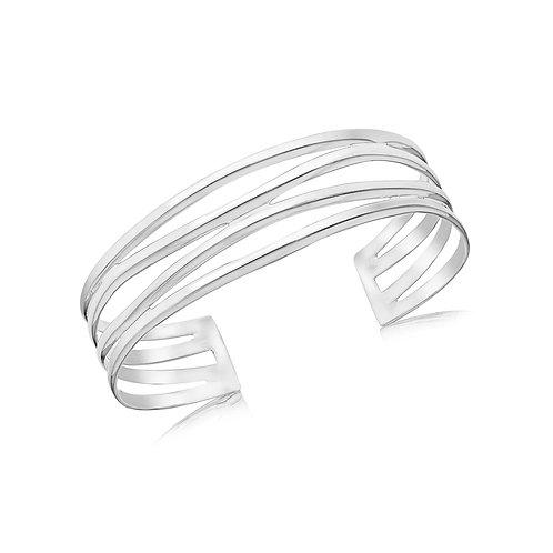 Sterling Silver Wave Design Bangle
