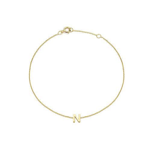 9ct Yellow Gold Initial N Ladies Bracelet