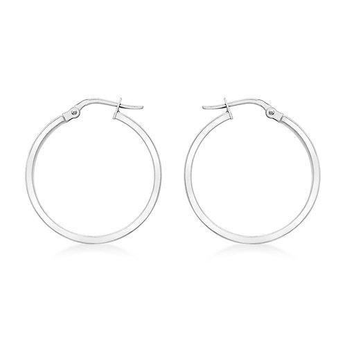 9ct White Gold 24mm Creole Hoop Earrings