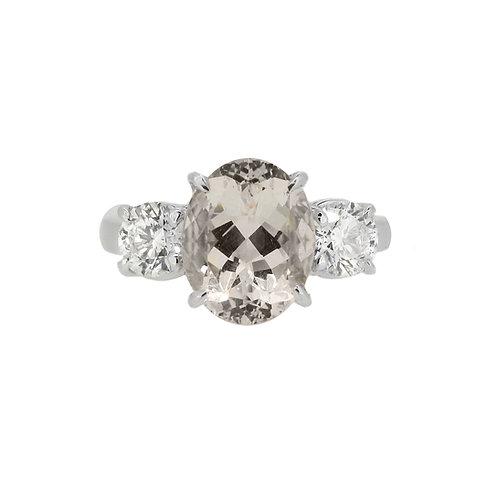 18ct White Gold Morganite and Diamond Three Stone Ring
