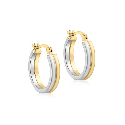 9ct White & Yellow Gold 18mm Creole Earrings