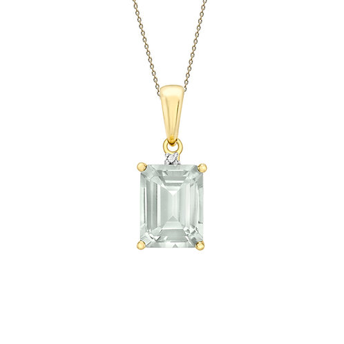 9ct Yellow Gold Octagonal Green Amethyst and Diamond Pendant