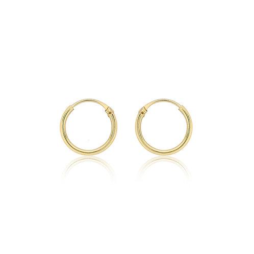 9ct Yellow Gold 10.5mm Plain Sleeper Hoop Earrings